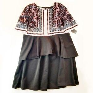 Eloquii Tiered Ruffle Lace Print Dress